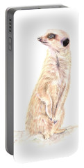 Portable Battery Charger featuring the painting Meerkat In Charge by Elizabeth Lock