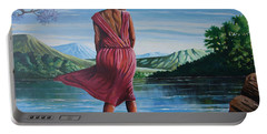 Portable Battery Charger featuring the painting Meet Me At The River by Anthony Mwangi