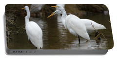 Meeting Of The Egrets Portable Battery Charger by George Randy Bass