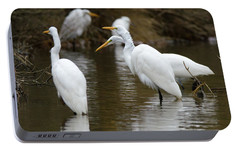 Portable Battery Charger featuring the photograph Meeting Of The Egrets by George Randy Bass