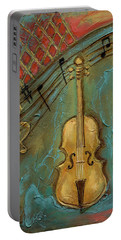 Portable Battery Charger featuring the mixed media Mello Cello by Terry Webb Harshman