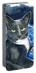 Melo - Blue Tuxedo Cat Painting Portable Battery Charger