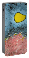 Portable Battery Charger featuring the painting Melting Moon Over Drifting Sand Dunes by Ben Gertsberg