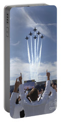 Members Of The U.s. Naval Academy Cheer Portable Battery Charger by Stocktrek Images