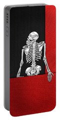 Memento Mori - Skeleton On Red And Black  Portable Battery Charger