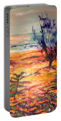 Portable Battery Charger featuring the painting Memory Pandanus by Winsome Gunning