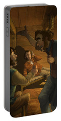 Men In A Hut Portable Battery Charger by Andy Catling
