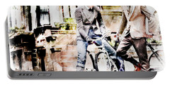 Men On Bikes Portable Battery Charger by Robert Smith