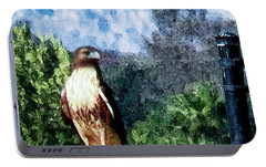 Portable Battery Charger featuring the photograph Menifee Falcon by Rhonda Strickland