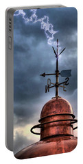 Menorca Copper Lighthouse Dome With Lightning Rod Under A Bluish And Stormy Sky And Lightning Effect Portable Battery Charger by Pedro Cardona