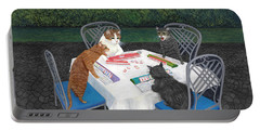 Portable Battery Charger featuring the painting Meowjongg - Cats Playing Mahjongg by Karen Zuk Rosenblatt