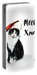 Portable Battery Charger featuring the painting Meowy Xmas by Colleen Taylor