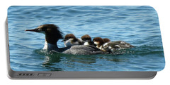 Merganser And Her Chicks Portable Battery Charger