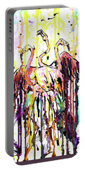 Portable Battery Charger featuring the painting Merging. Flamingos by Zaira Dzhaubaeva