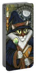 Portable Battery Charger featuring the painting Merlin The Magician Cat by Carrie Hawks