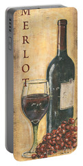 Merlot Wine And Grapes Portable Battery Charger by Debbie DeWitt