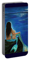 Portable Battery Charger featuring the painting Mermaid And Her Daughter by Leslie Allen