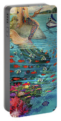Mermaid In Paradise Towel Version Portable Battery Charger