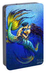 Portable Battery Charger featuring the painting Mermaid Kiss by Stanley Morrison