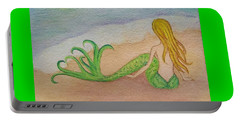 Mermaid Sunset Portable Battery Charger by Angela Murray