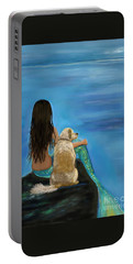 Portable Battery Charger featuring the painting Mermaids Loyal Buddy by Leslie Allen