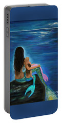 Portable Battery Charger featuring the painting Mermaids Sweet Little Girls by Leslie Allen