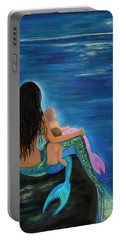 Portable Battery Charger featuring the painting Mermaids Sweet Little Ones by Leslie Allen