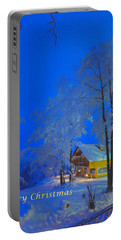 Merry Christmas Cabin Digital Art Portable Battery Charger