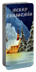 Merry Christmas Card Yosemite Valley Chapel Portable Battery Charger by Bill Holkham