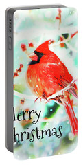 Merry Christmas Cardinal Portable Battery Charger