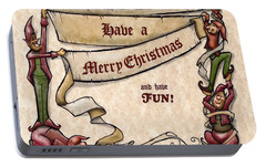 Portable Battery Charger featuring the digital art Merry Christmas Elves by Kevin Middleton