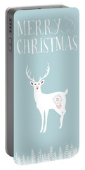 White Christmas Stag Portable Battery Charger