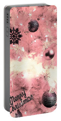 Merry Christmas In Pink Portable Battery Charger