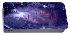 Merry Christmas On Purple Portable Battery Charger