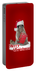 Merry Christmas -  Raccoon Portable Battery Charger by Gravityx9 Designs