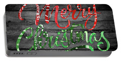 Merry Christmas Recycled Vintage License Plate Art Green And Red Wording Portable Battery Charger