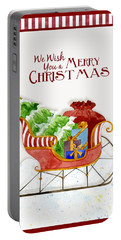 Merry Christmas Santa's Sleigh W Gifts In Snow Portable Battery Charger