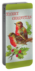 Merry Christmas Snowy Bird Couple Portable Battery Charger by Sandi OReilly
