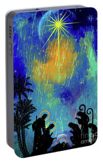 Portable Battery Charger featuring the painting  Merry Christmas To All. by Andrzej Szczerski