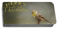 Merry Christmas Winter Goldfinch 1 Portable Battery Charger