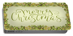 Merry Christmas Wreath Art Portable Battery Charger