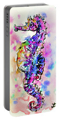 Portable Battery Charger featuring the painting Merry Seahorse by Zaira Dzhaubaeva