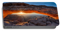 View Through The Mesa Arch At  Sunrise Portable Battery Charger