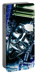 Metal Anonymous Mask On Motherboard Portable Battery Charger