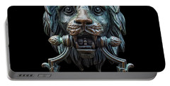 Portable Battery Charger featuring the photograph Metal Lion Head Doorknocker Isolated Black by Antony McAulay