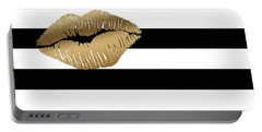Metallic Gold Lips Black And White Stripes Portable Battery Charger by Georgeta Blanaru