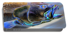 Metallic Trout Portable Battery Charger by Phyllis Beiser