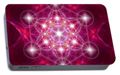 Portable Battery Charger featuring the digital art Metatron Cube With Flower by Alexa Szlavics