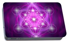 Portable Battery Charger featuring the digital art Metatron's Cube Purple by Alexa Szlavics