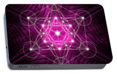 Portable Battery Charger featuring the digital art Metatron's Cube Waves by Alexa Szlavics